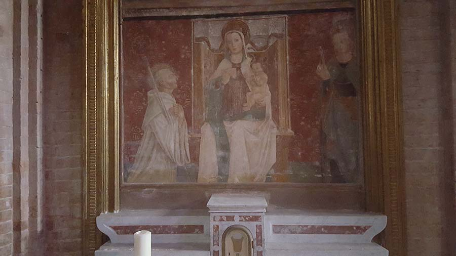 Madonna. Cistercian Abbey in Rivalta, with stunning 15th centuries frescoes